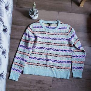 J crew fair isle crew snowflake sweater L